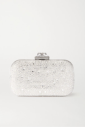 Alexander McQueen Spider Faux Pearl And Crystal-embellished Satin Clutch - Silver