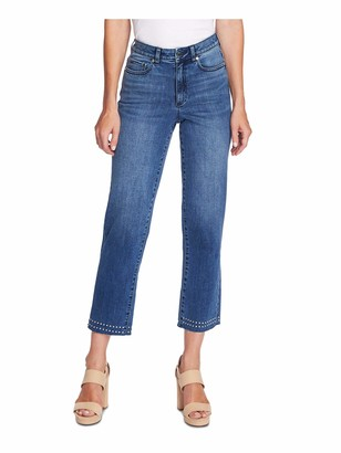 Vince Camuto Women's Studded High Rise Crop Straight Leg Jean