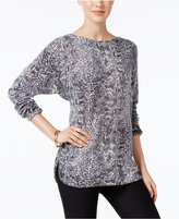 Charter Club Cashmere Snakeskin-Print Sweater, Only at Macy's