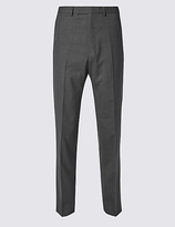 M&S Collection Grey Textured Regular Fit Trousers