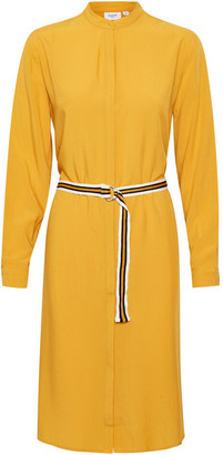 Saint Tropez Sara Long Sleeved Shirt Dress - XS (8) | Lyocell | yellow ochre - Yellow ochre