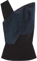 Roland Mouret Semley One-shoulder Organza-paneled Crepe Top - Navy