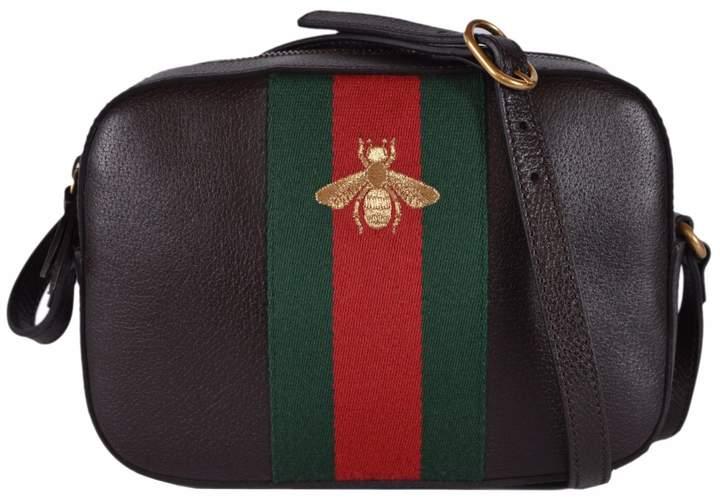 Gucci Women's Leather Red Green Web BEE Crossbody Handbag