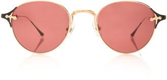 Matsuda Eyewear Brushed Gold-Tone Metal Round-Frame Sunglasses