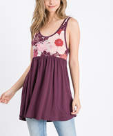 Mulberry Cool Melon Women's Tank Tops  & Wine Floral Color Block Sleeveless Tunic - Women & Plus