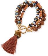 Lydell NYC Triple-Strand Beaded Tassel Bracelet