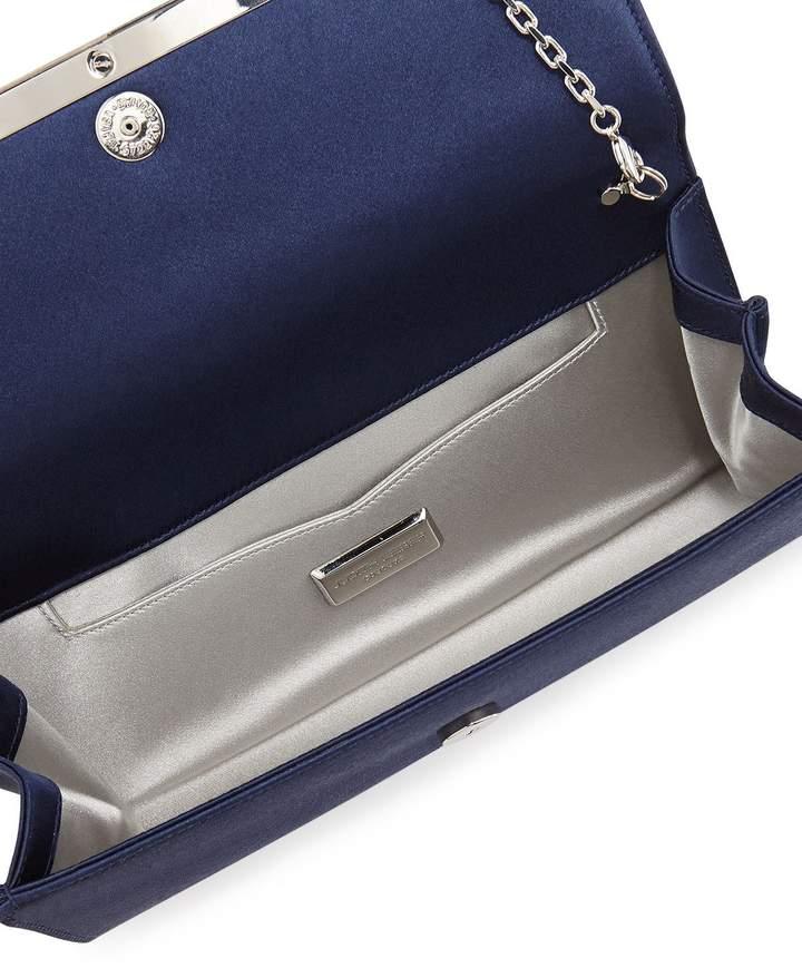 Judith Leiber Couture Tuxedo Crystal-Trim Satin Clutch Bag
