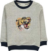 Simple Tiger Embroidered Stripe Sweatshirt
