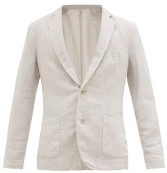 120% Lino Single-breasted Linen Suit Jacket - Mens - Light Grey