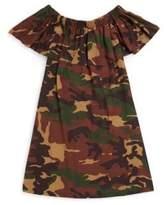 Un Deux Trois Girl's Camouflage Printed Dress