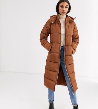 Glamorous Tall longline padded coat-Brown