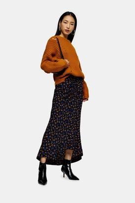 Topshop Womens Tall Indigo Floral Print Trumpet Skirt - Indigo