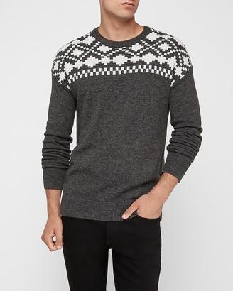 Express Wool-Blend Fair Isle Crew Neck Sweater