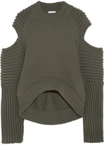 DKNY Cold-shoulder Ribbed-knit Sweater - Army green