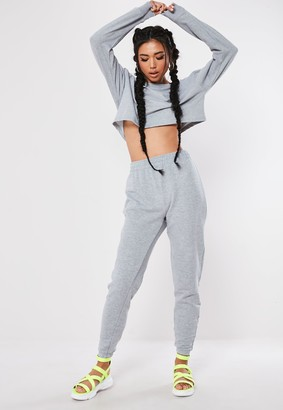 Missguided Grey Marl Cropped Sweatshirt And Joggers Co Ord Set