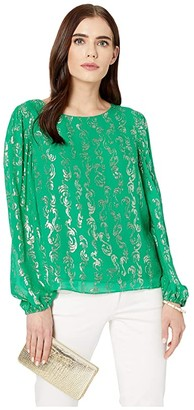 Lilly Pulitzer Miriam Silk Top (Emerald Isle Salty Wave Metallic Clip Chiffon) Women's Clothing