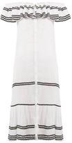 Lisa Marie Fernandez Mira Ruffle-trimmed Button-through Linen Dress - Womens - White Multi
