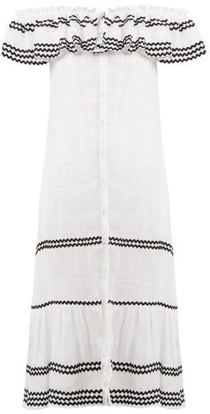 Lisa Marie Fernandez Mira Ruffle Trimmed Button Through Linen Dress - Womens - White Multi