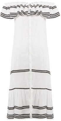 Lisa Marie Fernandez Mira Ruffle Trimmed Button Through Linen Dress - Womens - White Multi