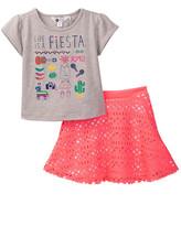 Petit Lem Top & Laser-Cut Skirt Set (Toddler & Little Girls)