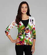 Peter Nygard Single-Button Floral-Splatter Cardigan