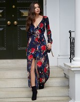 Lipsy Floral Print Tie Front Wrap Maxi Dress