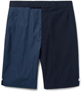 Thom Browne Slim-fit Two-tone Textured-cotton And Seersucker Shorts