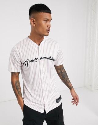 Good For Nothing striped script logo baseball t-shirt in white