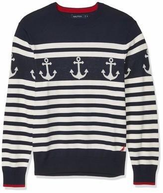 Nautica Men's 100% Cotton Striped Anchor Sweater