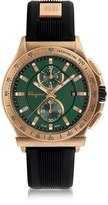 Salvatore Ferragamo 1898 Sport Bronze IP Stainless Steel Men's Chronograph Watch w/Black Rubber Strap