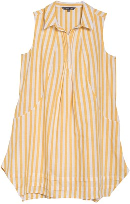 Sharagano Sleeveless Pintuck Trapeze Shirt Dress (Plus Size)
