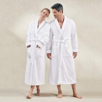 The White Company Unisex Hydrocotton Shawl Collar Robe, White Grey, Large