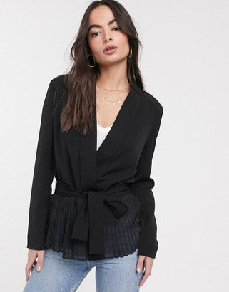 French Connection angeline drape belted jacket-Black