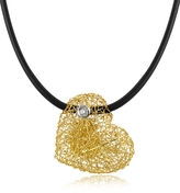 Orlando Orlandini Arianna - Small Diamond Heart Pendant w/Rubber Lace
