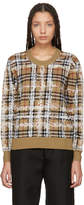 Burberry Beige Wool Check Sweater