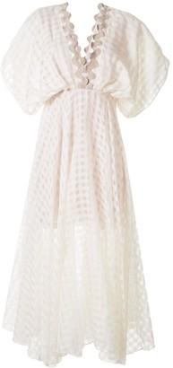 Leal Daccarett crochet-trimmed gingham dress