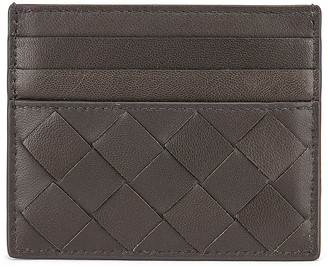 Bottega Veneta Leather Woven Card Case in Light Graphite & Gold | FWRD