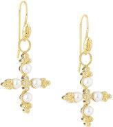 Jude Frances Carolina 18k Pearl Cross Earring Charms
