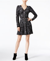 INC International Concepts Intarsia Fit & Flare Sweater Dress, Only at Macy's