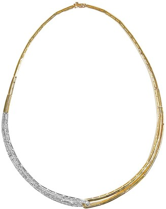 Effy Duo Diamond, 14K White and Yellow Gold Structured Collar Necklace, 1.3 TCW