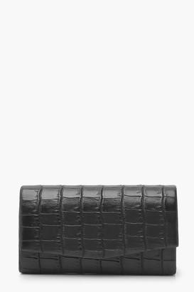 boohoo Croc Structured Clutch Bag & Chain