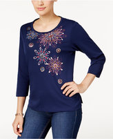 Alfred Dunner Sierra Madre Collection Embroidered Sequined Top