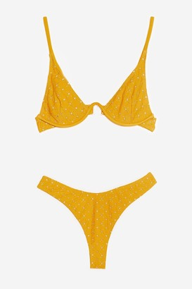 Nasty Gal Womens Broderie Underwire High Leg Bikini Set - Mustard