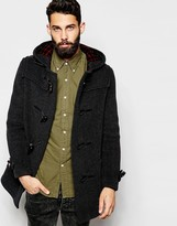 Gloverall Duffle Coat With Check Hood - Grey