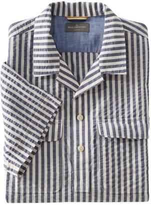 L.L. Bean Men's Signature Seersucker Popover Shirt, Short-Sleeve, Plaid