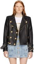Balmain Black Leather 6-Button Biker Jacket
