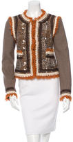 Tory Burch Tweed Fringe-Trimmed Jacket