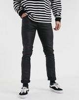 Nudie Jeans Grim Tim slim straight fit coated jeans in dry black mind