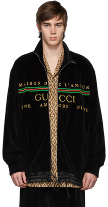 Gucci Black Chenille Zip-Up Sweater
