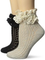 K. Bell K-Bell Women's Pointelle Anklet Sock with Contast Natural Lace Trim 2-Pack